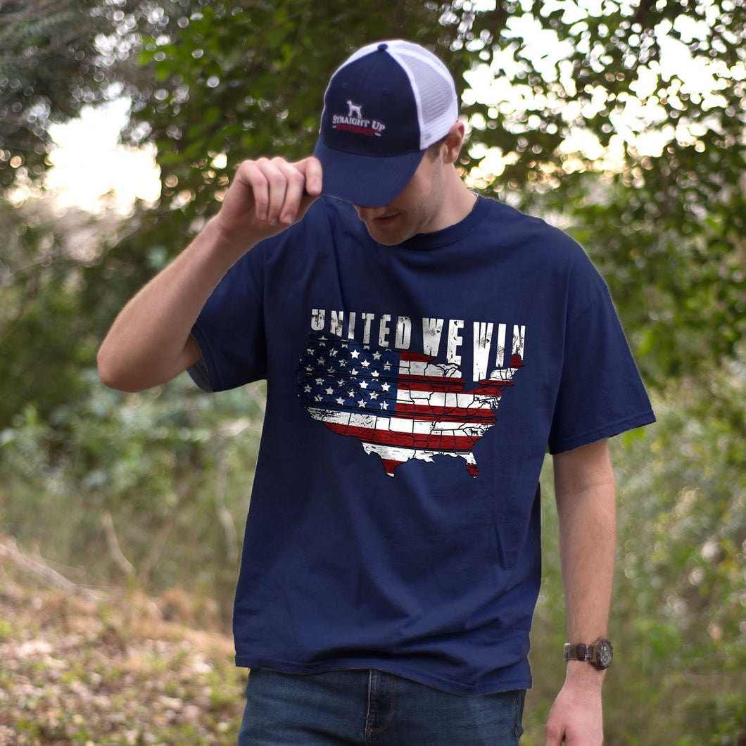 Straight Up Southern United We Win T-shirt - Navy