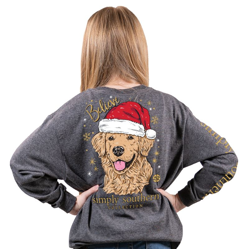 Simply Southern Collection Youth Santa Dog Long Sleeve T-shirt