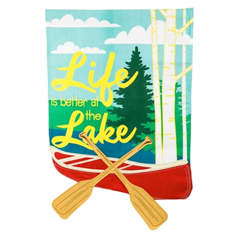 Evergreen Life is Better at the Lake Suede House Flag