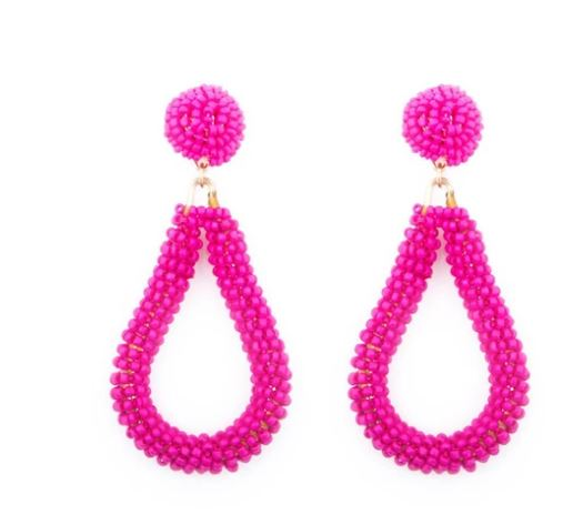 Mainstreet Collection Pink Bead Loop Earrings