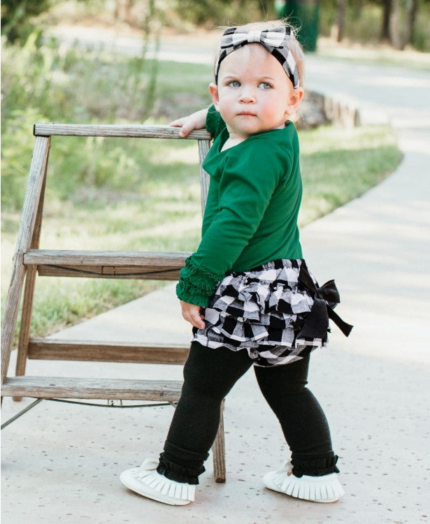 RuffleButts Black & White Plaid Bow Headband