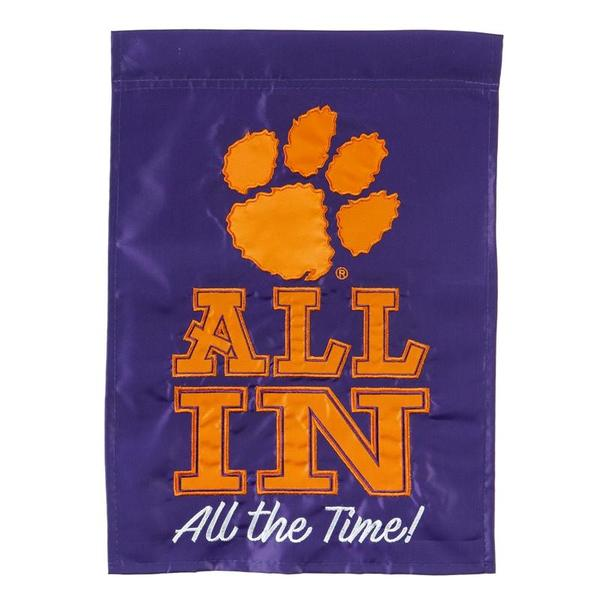 Evergreen All In Clemson Applique Garden Flag