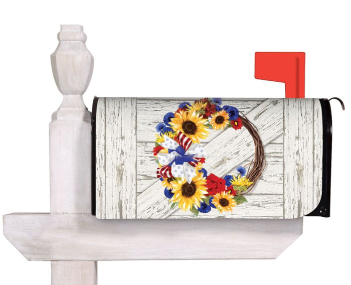 Evergreen Americana Floral Wreath Mailbox Cover
