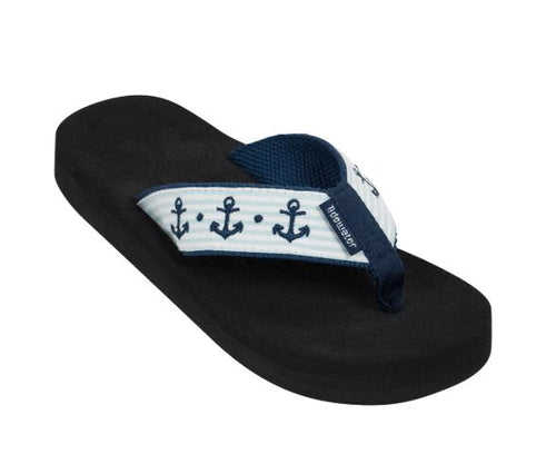 Tidewater Seersucker Anchors Boardwalk Flip Flops