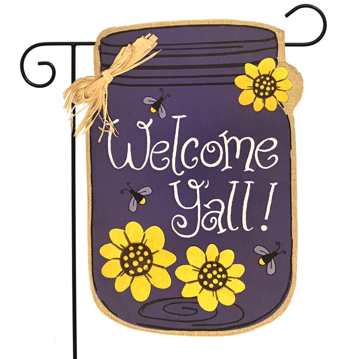 Briarwood Lane Welcome Y'all Jar Burlap Garden Flag