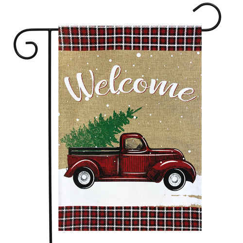 Briarwood Lane Winter Truck Burlap Garden Flag