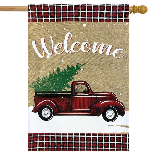 Briarwood Lane Winter Truck Burlap House Flag