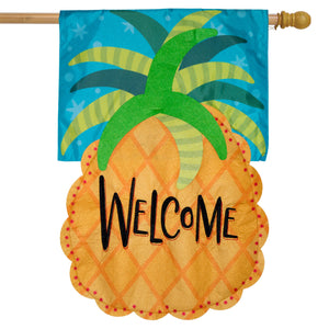 Briarwood Lane Welcome Pineapple Applique House Flag
