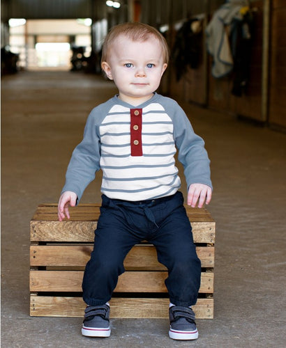 Rugged Butts Slate & Ivory Stripe Raglan Henley Bodysuit