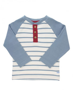 Rugged Butts Slate & Ivory Stripe Raglan Henley