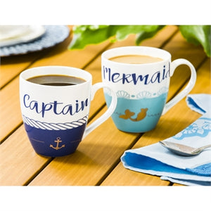Evergreen Ceramic Cup O' Java, 17 OZ, Captain & Mermaid Giftset of 2