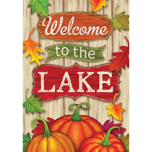 CUSTOM DECOR FALL LAKE WELCOME GARDEN FLAG
