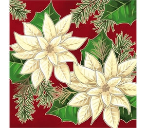 Cypress Home White Flower Metallic Paper Luncheon Napkins