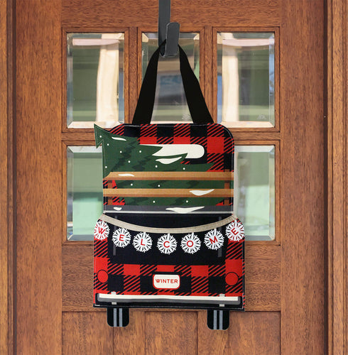 Briarwood Lane Red Checkered Truck Burlap Door Hanger