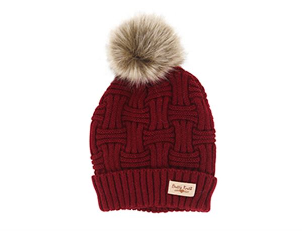 Brits Knits Burgundy Hat with Natural Pom