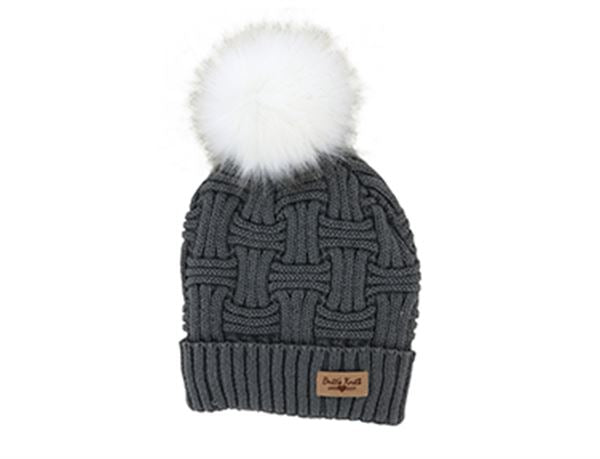 Brits Knits Gray Hat with White Pom
