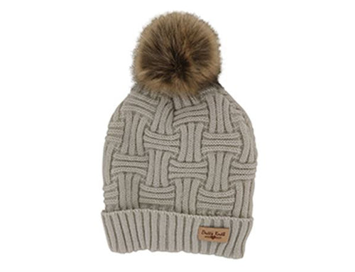 Brits Knits Beige Hat with Natural Pom