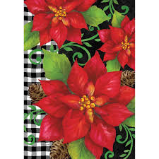 CUSTOM DECOR POINSETTIA CHECK GRDN FLAG