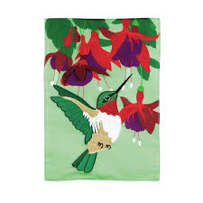 Evergreen Hummingbird and Fuchsia Applique Garden Flag