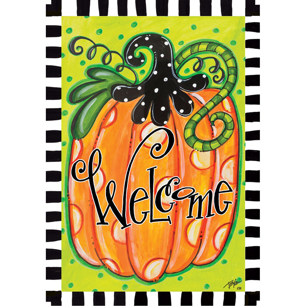 Custom Decor Polka Dot Pumpkin Garden Flag