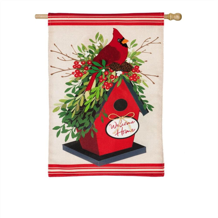 Evergreen Holiday Birdhouse Burlap House Flag