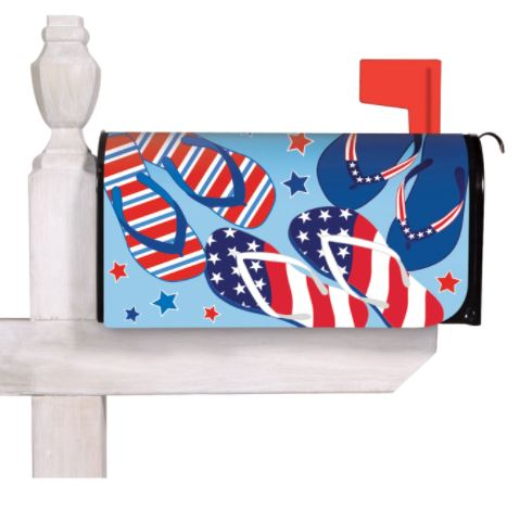 Evergreen Patriotic Flip Flops Mailbox Cover
