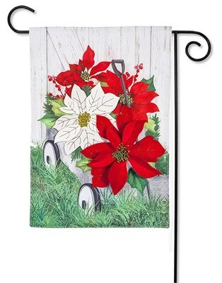 Evergreen Galvanized Wagon with Poinsettias Garden Flag