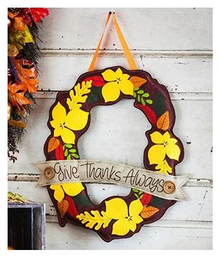 EVERGREEN GIVE THANKS DOOR DECOR