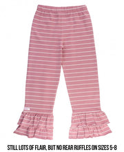 Load image into Gallery viewer, Ruffle Butts Mauve & Ivory Stripe Ruffle Pants