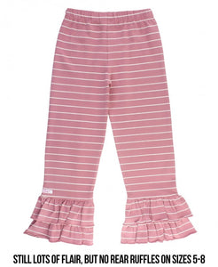 Ruffle Butts Mauve & Ivory Stripe Ruffle Pants