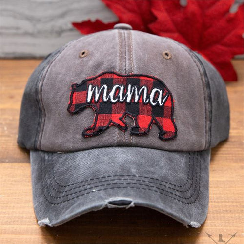 Southern Grace Buffalo Plaid Mama Bear Distressed Hat