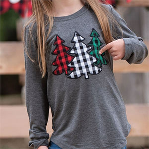 Southern Grace Youth The Festive Forest Tree Patches Long Sleeve Shirt