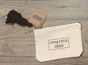 MUD PIE GRADUATION CANVAS POUCHES