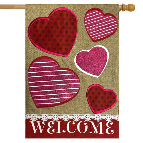 Briarwood Lane Hearts Burlap House Flag