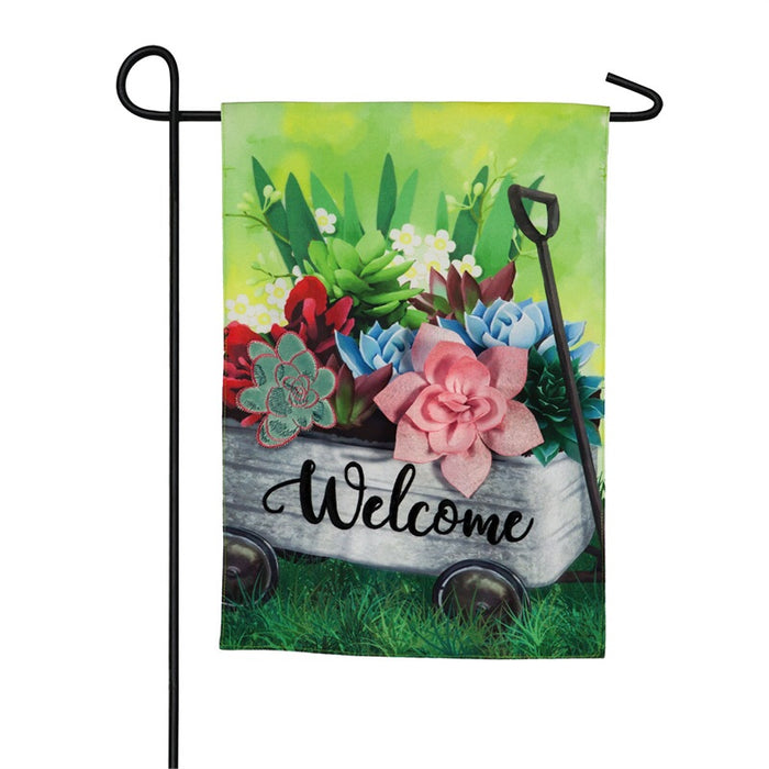 EVERGREEN SPRING GALVANIZED WAGON GARDEN FLAG