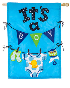 EVERGREEN IT'S A BOY HOUSE FLAG
