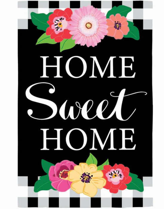 Evergreen Floral Home Sweet Home Applique Garden Flag