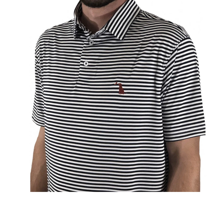 Local Boy Outfitters Black and White Pencil Striped Polo