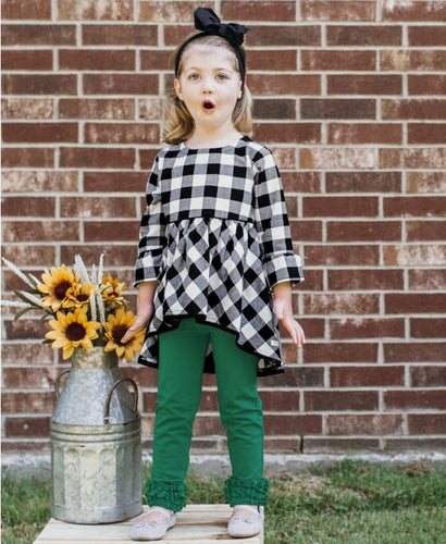 RuffleButts Black & White Plaid High Low Top