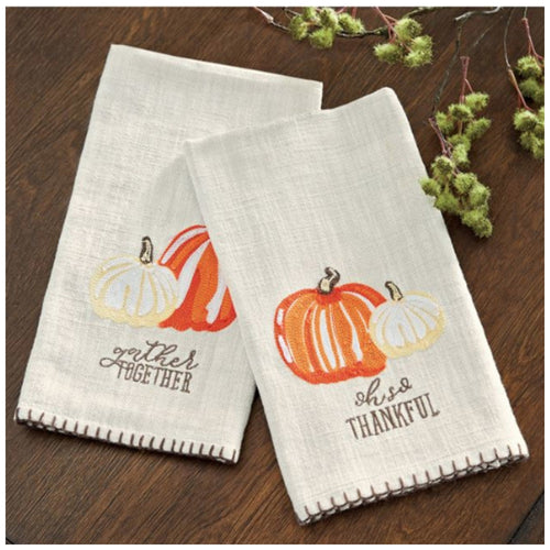 Mud Pie Embroidered Pumpkin Towels