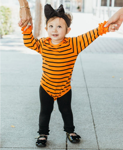 RuffleButts Orange & Black Stripe Ruffled Long Sleeve Layering Bodysuit