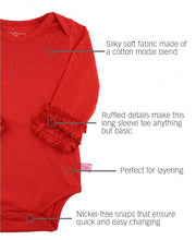 Load image into Gallery viewer, Ruffle Butts Red Ruffled Long Sleeve Layering Bodysuit