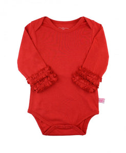 Ruffle Butts Red Ruffled Long Sleeve Layering Bodysuit