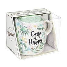 Load image into Gallery viewer, Evergreen Ceramic Cup and Sock Gift set, 12 OZ, Cup of Happy