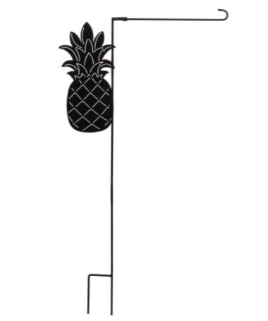Evergreen Pineapple Laser Cut Garden Flag Stand