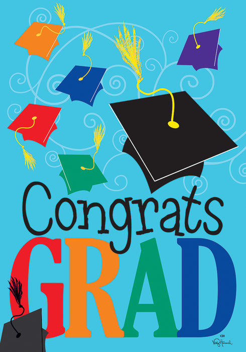 CUSTOM DECOR CONGRATULATIONS GRAD GARDEN FLAG