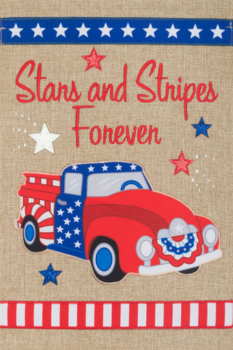 CUSTOM DECOR STARS & STRIPES BURLAP GARDEN FLAG