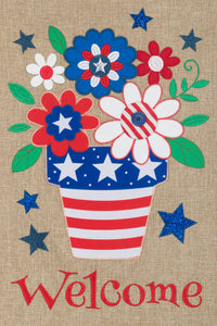 CUSTOM DECOR PATRIOTIC FLOWER BURLAP GARDEN FLAG