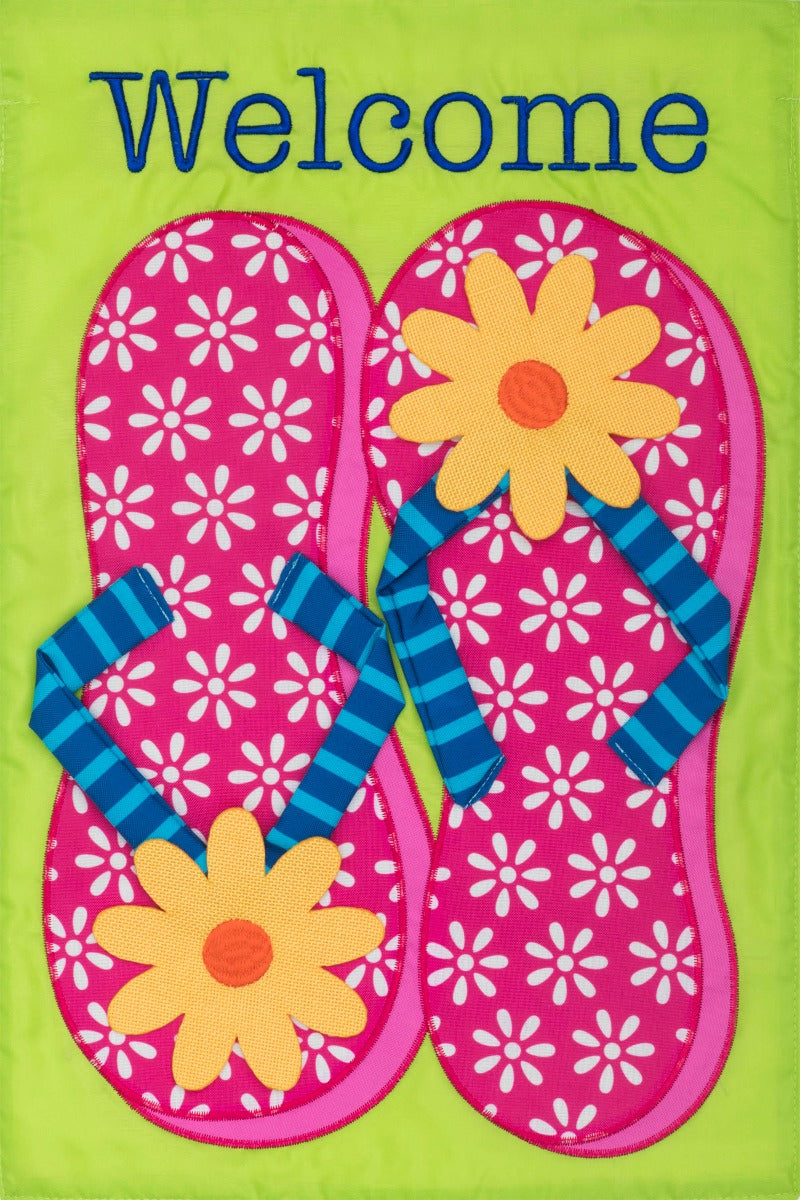 Custom Decor Pink Flip Flops Applique Garden Flag
