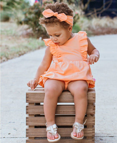 RuffleButts Peach Waterfall Bubble Romper